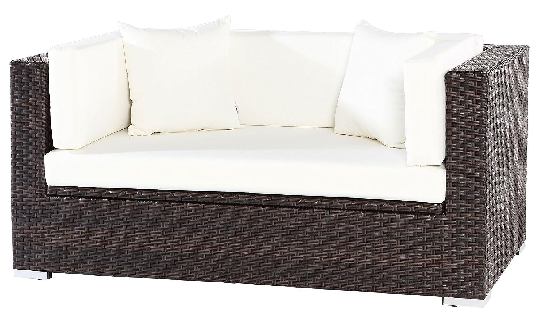 OUTFLEXX Sofa aus Polyrattan mit Kissenboxfunktion inkl. Polster für 2 Pers., 152x85x70cm, braun
