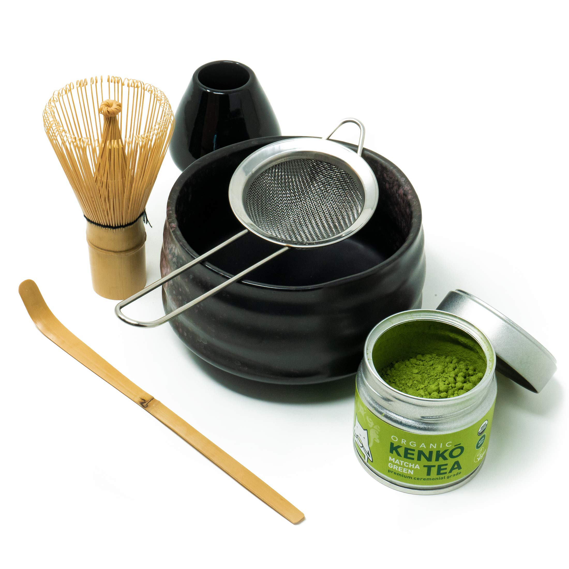 Kenko Tea Matcha Tea Ceremonial Set with Bowl, Bamboo Whisk, Bamboo Scoop. Whisk Stand and Sifter. Comes with 30g Organic Ceremonial Matcha