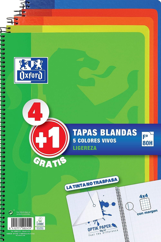 Pack 4+1 Cuadernos Folio(A4) Oxford, 400027271, Tapa Blanda, 80 Hojas cuadrícula 4x4, Surtido aleatorio vivos
