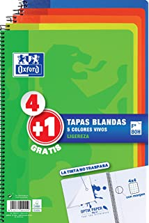 Pack 4+1 Cuadernos Folio(A4) Oxford, 400027271, Tapa Blanda, 80 ...