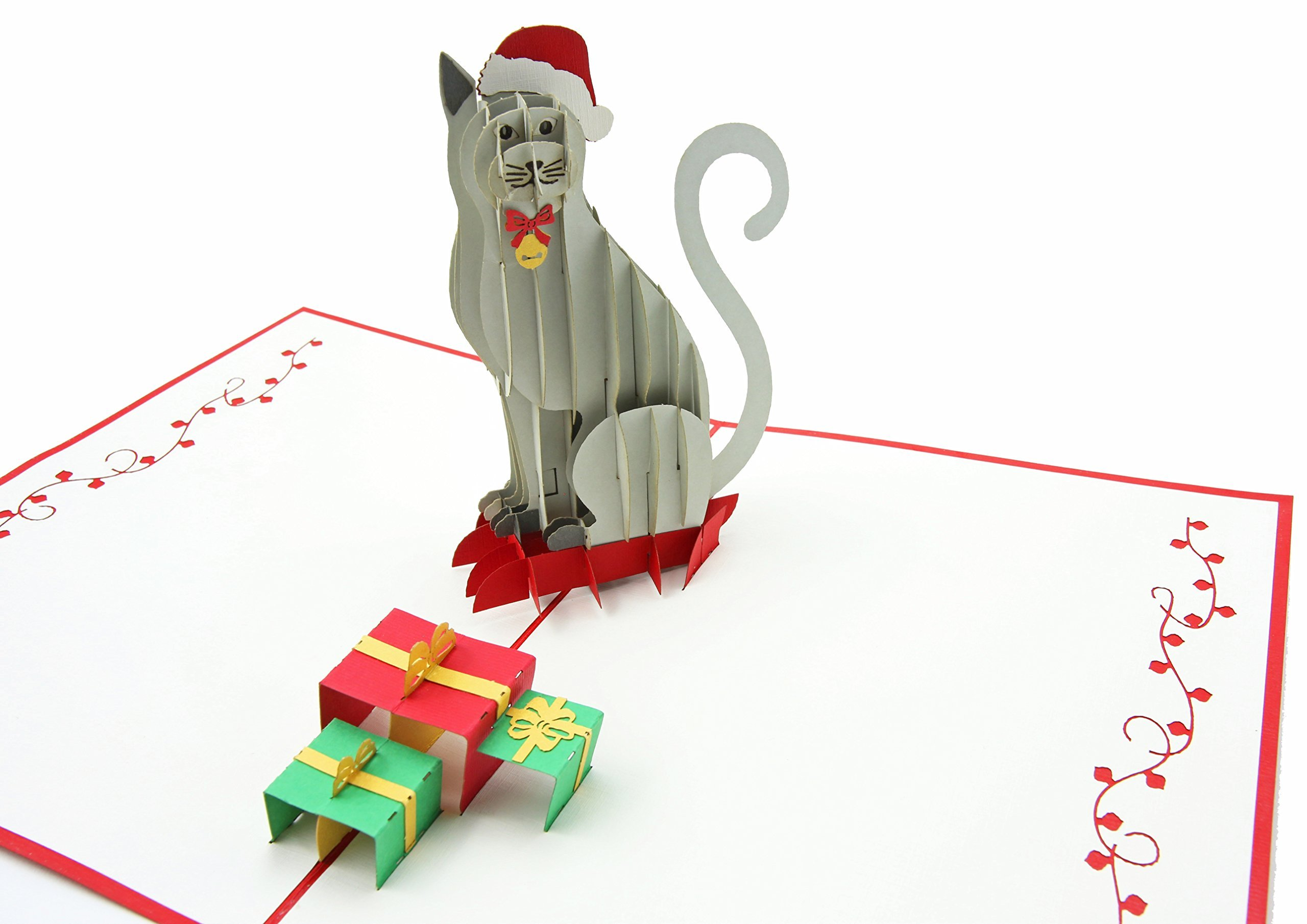 PopLife Holiday Cat 3D Pop Up Greeting Card - Tree Trimmers, Crafters, Scrapbooking - Folds Flat for Mailing - Holiday Party, White Elephant, Office Gift