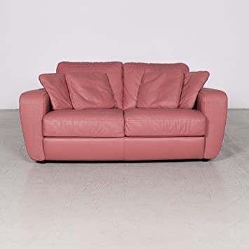 Natuzzi Designer Leather Sofa Red Pink Real Leather Two ...