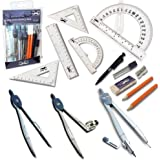 Mr. Pen Geometry Set with 6 Inch Swing Arm Protractor, Divider, Set Squares, Ruler, Compasses and Protractor, 15 Piece…