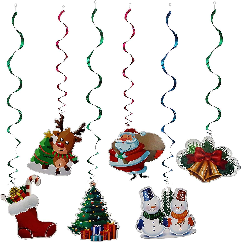THE TWIDDLERS 36 Decoraciones Navideñas para El Techo O Cielo Raso Decorar Tus Fiestas De Navidad - Colgar Remolino Decoración Colgantes Serpentinas Emerillones Confeti con Forma Navideños Fiesta
