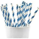 Frau Wundervoll 25 Papierstrohhalme - Blaue Streifen/Trinkhalme / Strohhalme Papier