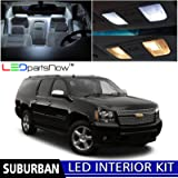 LEDpartsNow 2007-2014 Chevy Suburban LED Interior Lights Accessories Replacement Package Kit (15 Pieces), WHITE +TOOL