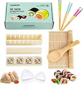 Nuokim Sushi Making Kit, Bamboo Sushi Mat, Complete Sushi Set with sushi rolling mat, sushi maker tool, triangle sushi rice mold, chopsticks, rice spreader DIY Home Sushi Tool Christmas Gift