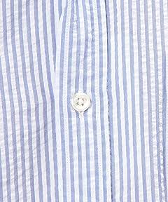 Seersucker 7/10 Sleeve Buttondown Shirt 3216-299-1125: Light Blue Stirpe