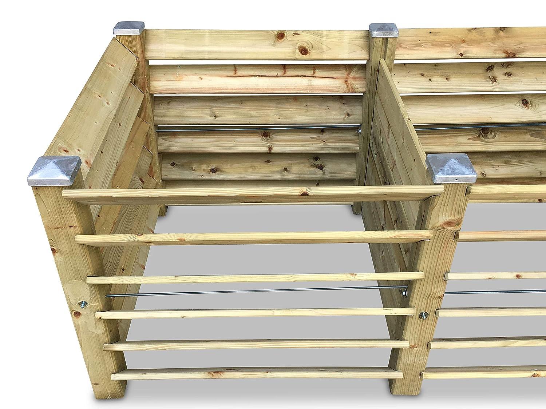 GartenDepot24 Doppel-Komposter Brettkomposter mit 6 Pfostenkappen 188x100x80 cm 1300 L ca