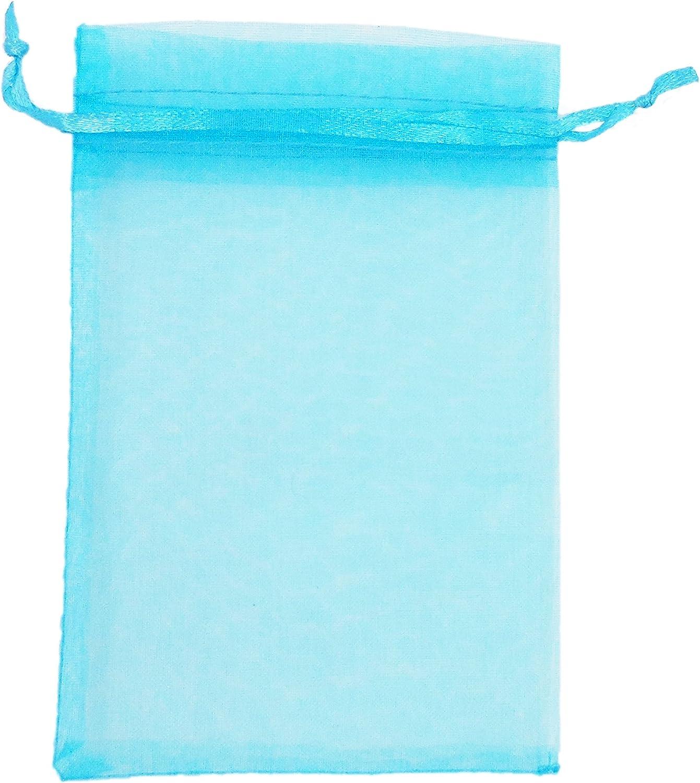 ATCG 100pcs 5x7 Inches Drawstring Organza Pouches Wedding Party Favor Gift Candy Bags (Pack of 100pcs) (AQUA BLUE) 815MUGiF5OL