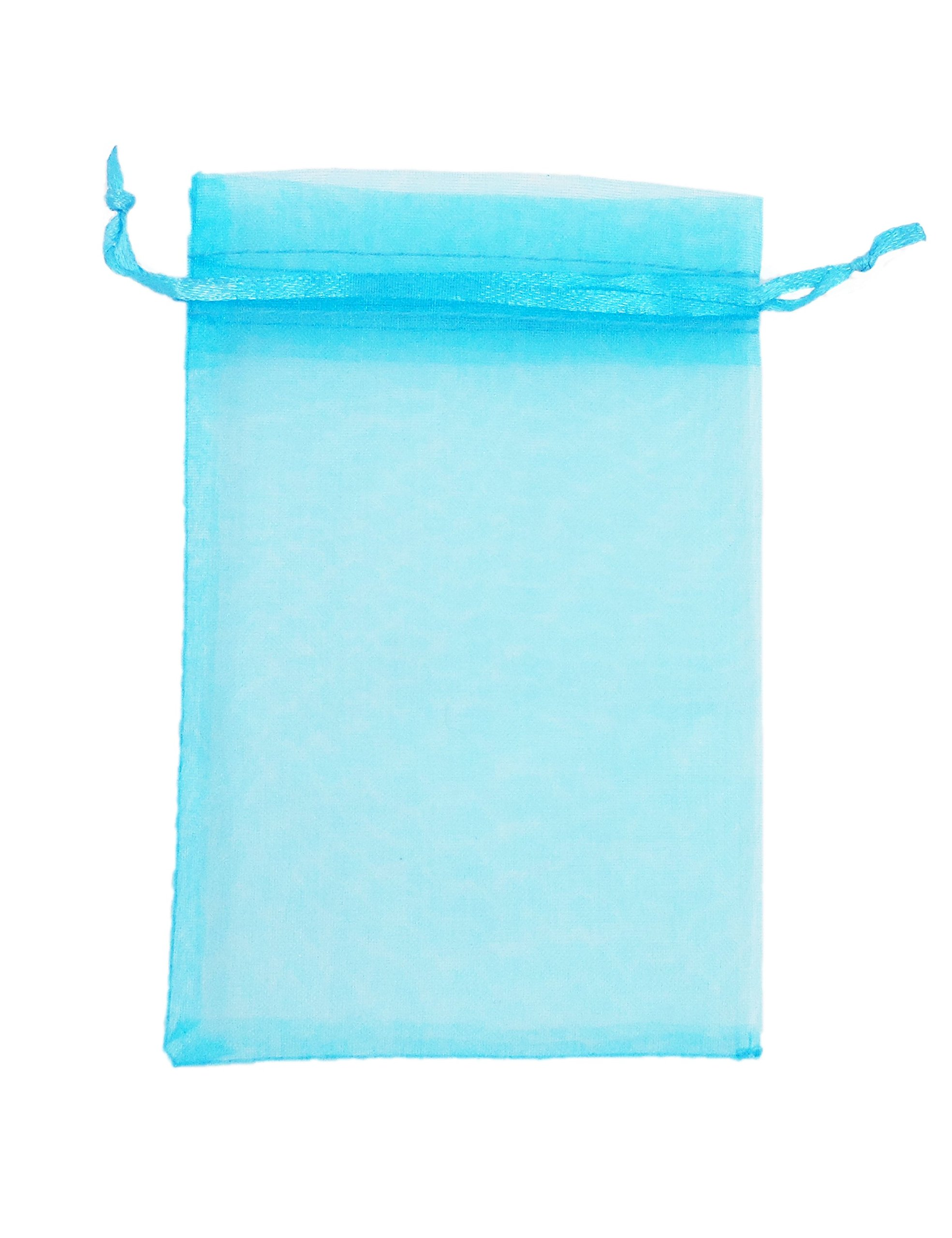 "AIEDE Aqua Blue 4x6"" 10x15cm Drawstring Organza Pouch Strong Wedding Favor Gift Candy Bag (Pack of 100pcs)"