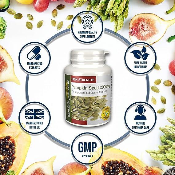 Semilla de Calabaza 2000mg - 180 cápsulas - Hasta 6 meses de suministro - Para la salud de la próstata - SimplySupplements: Amazon.es: Salud y cuidado ...