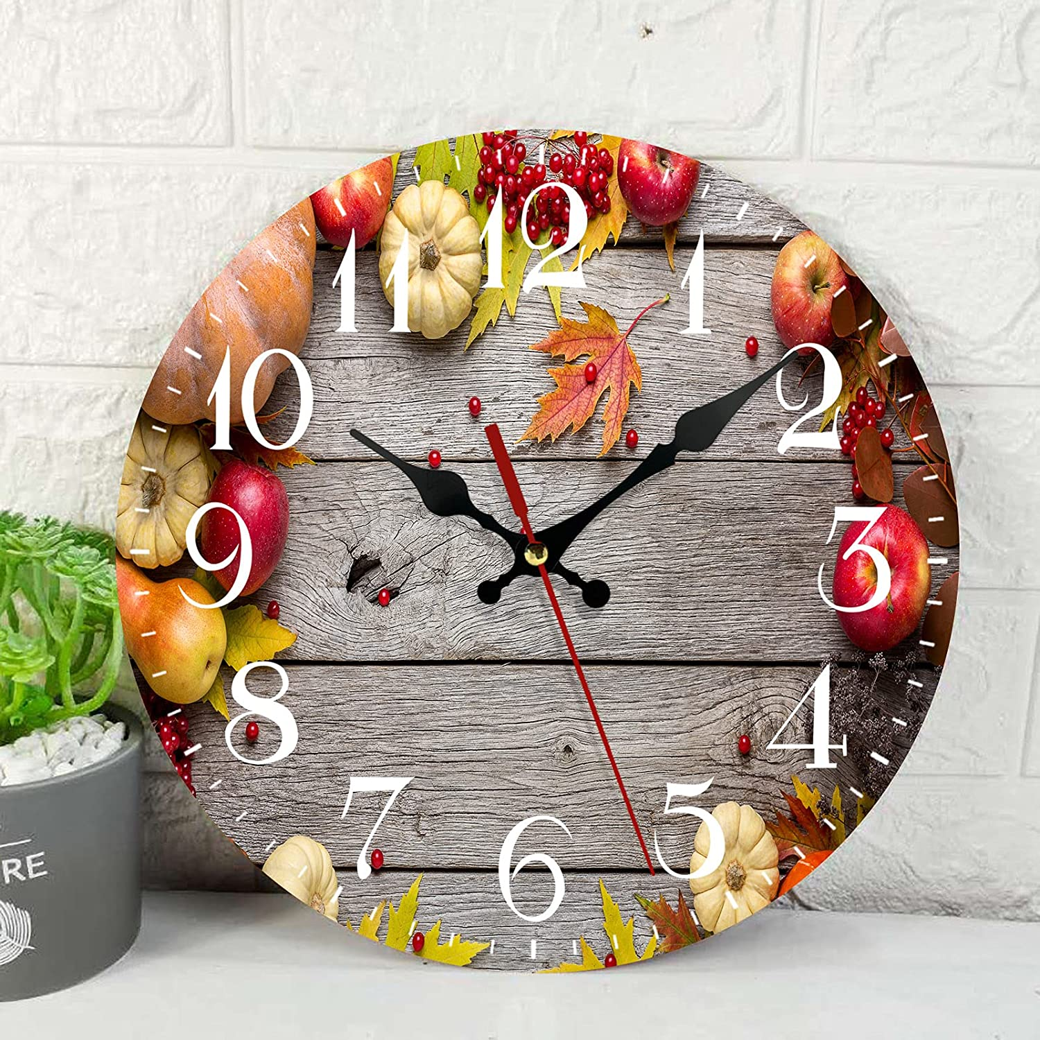 Wooden Wall Clock Silent Non-Ticking ,Autumn Maple Leaves Red Apples Fall Vintage Round Wall Clocks Decor for Home Kitchen Living Room Office, Battery Operated(12 Inch)