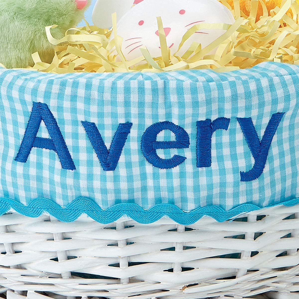 Removable Blue Liner for Girls and Boys Baby/'s First Egg Hunt Lillian Vernon Kids Personalized Wicker Easter Basket Tote 11 Inches x 14 Inches