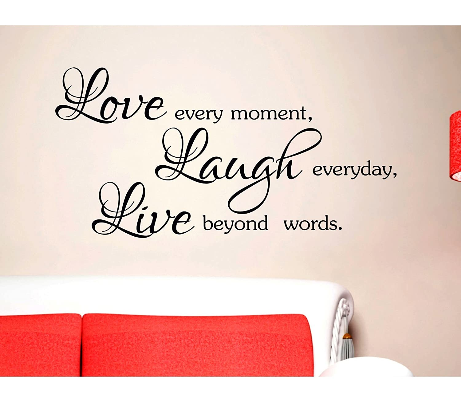 ADESIVI MURALI FRASI CITAZIONI Love Every Moment Laugh Every Day Live Beyond Words AMARSI RIDERE VIVERE WALL STICKERS DECORAZIONE CASA Stickerdesign