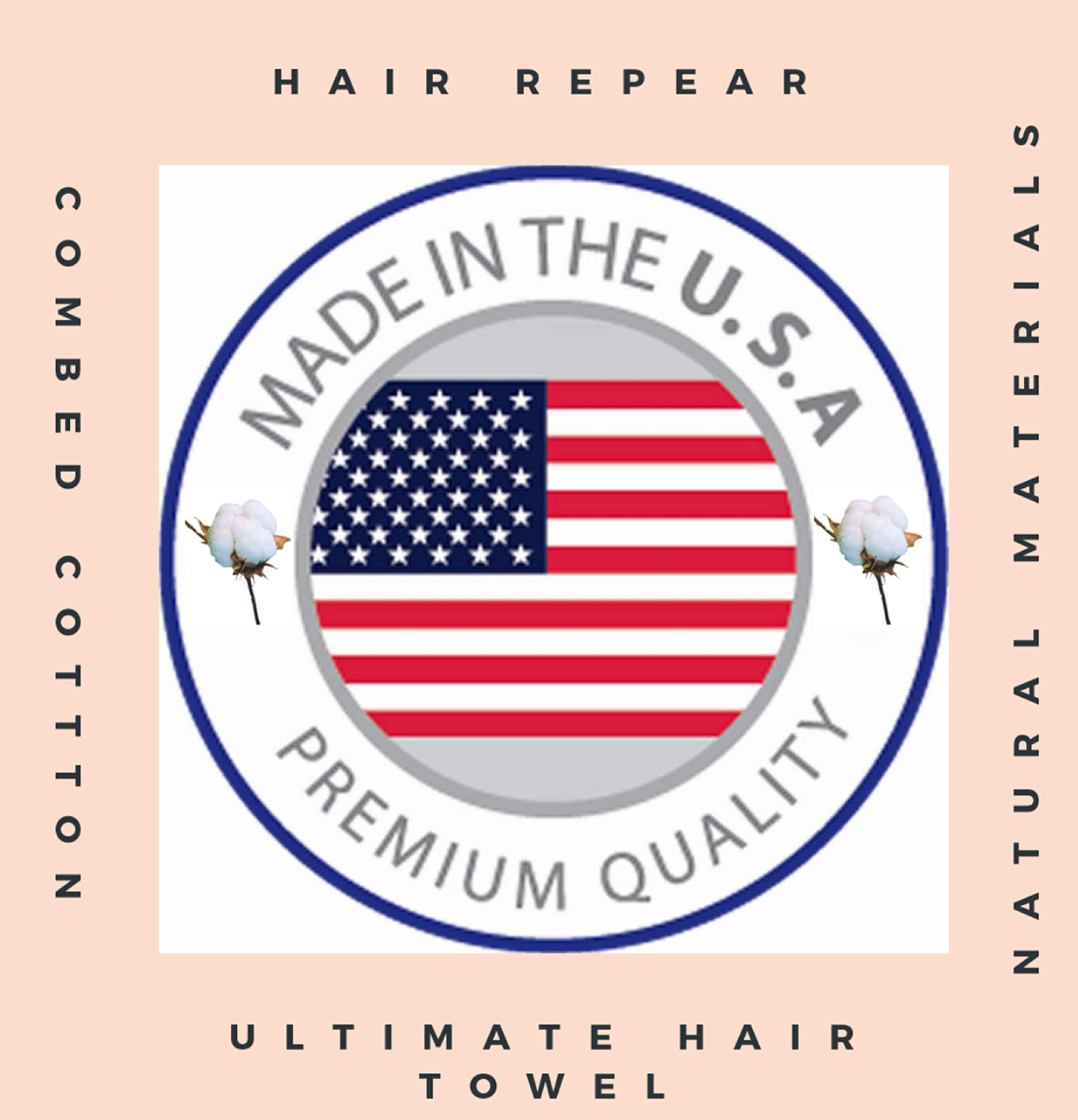 Hair RePear Ultimate Short Hair Towel-Embrace Your Straight Wavy Curly Hair with Our Premium Anti Frizz Absorbent Cotton Hair Styling Towel-Damage Free Product for Natural Hair - Small 19X39in (white) by Hair RePear
