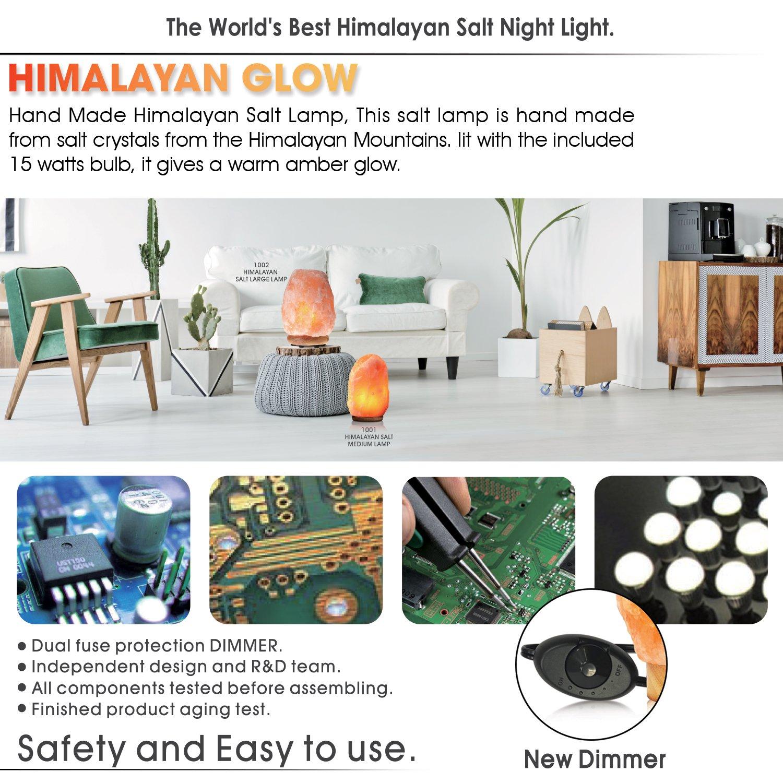 Himalayan Glow WBM 1002 large Salt lamp. ETL Certified himalayan pink salt lamp with Neem Wood Base/salt lamp light bulbs and Dimmer Control, Crystal, 9'' x 5'' x 5'', 8-11 LBS by Himalayan Glow (Image #5)