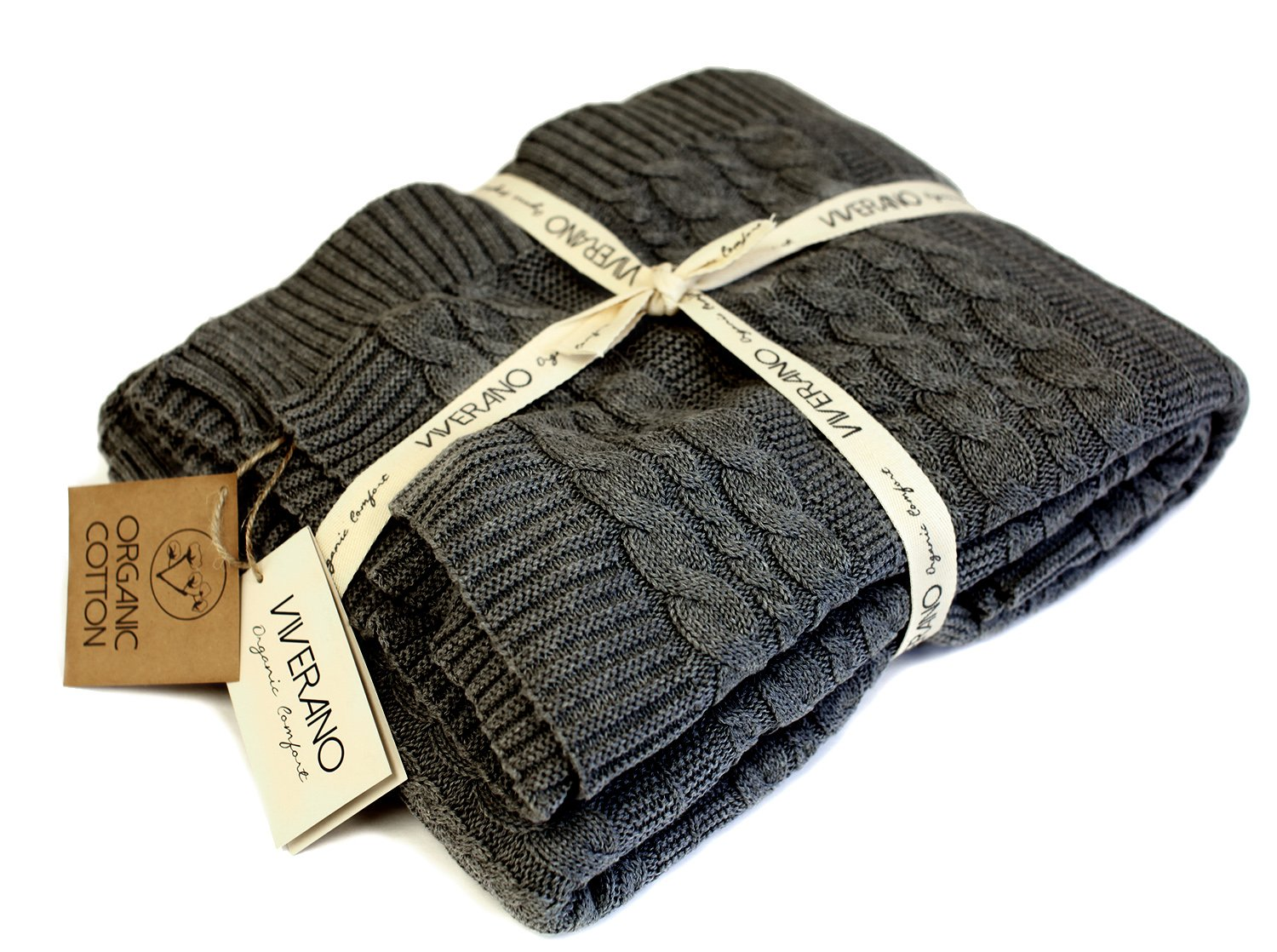 Viverano 100% Organic Cotton Throw Cable Knit Blanket (50''x70'') Super Soft Warm Luxurious All-Season Non-Toxic Eco-friendly (Charcoal)