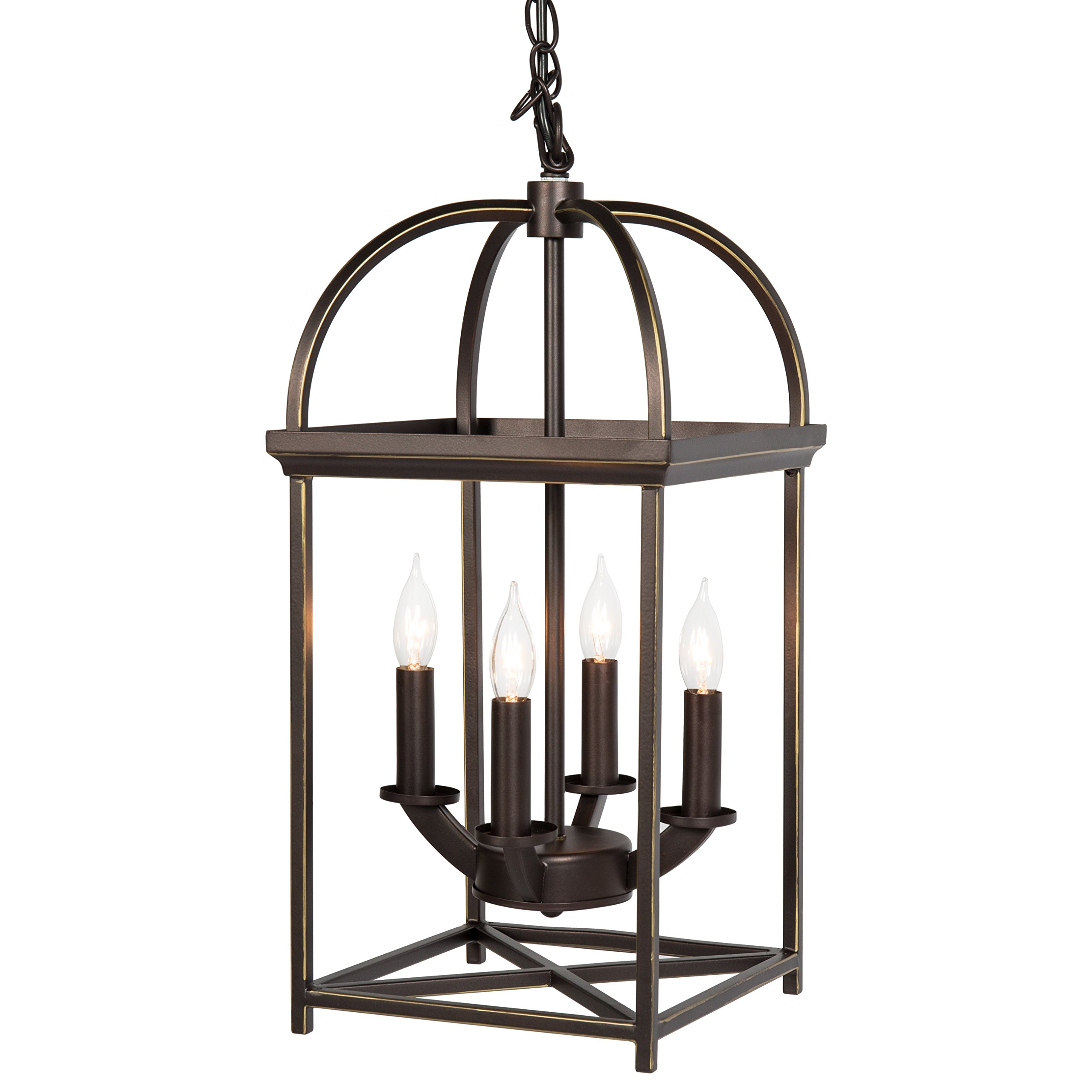 Best Choice Products 4-Light Home Ceiling Chandelier Hanging Foyer Lantern - Bronze