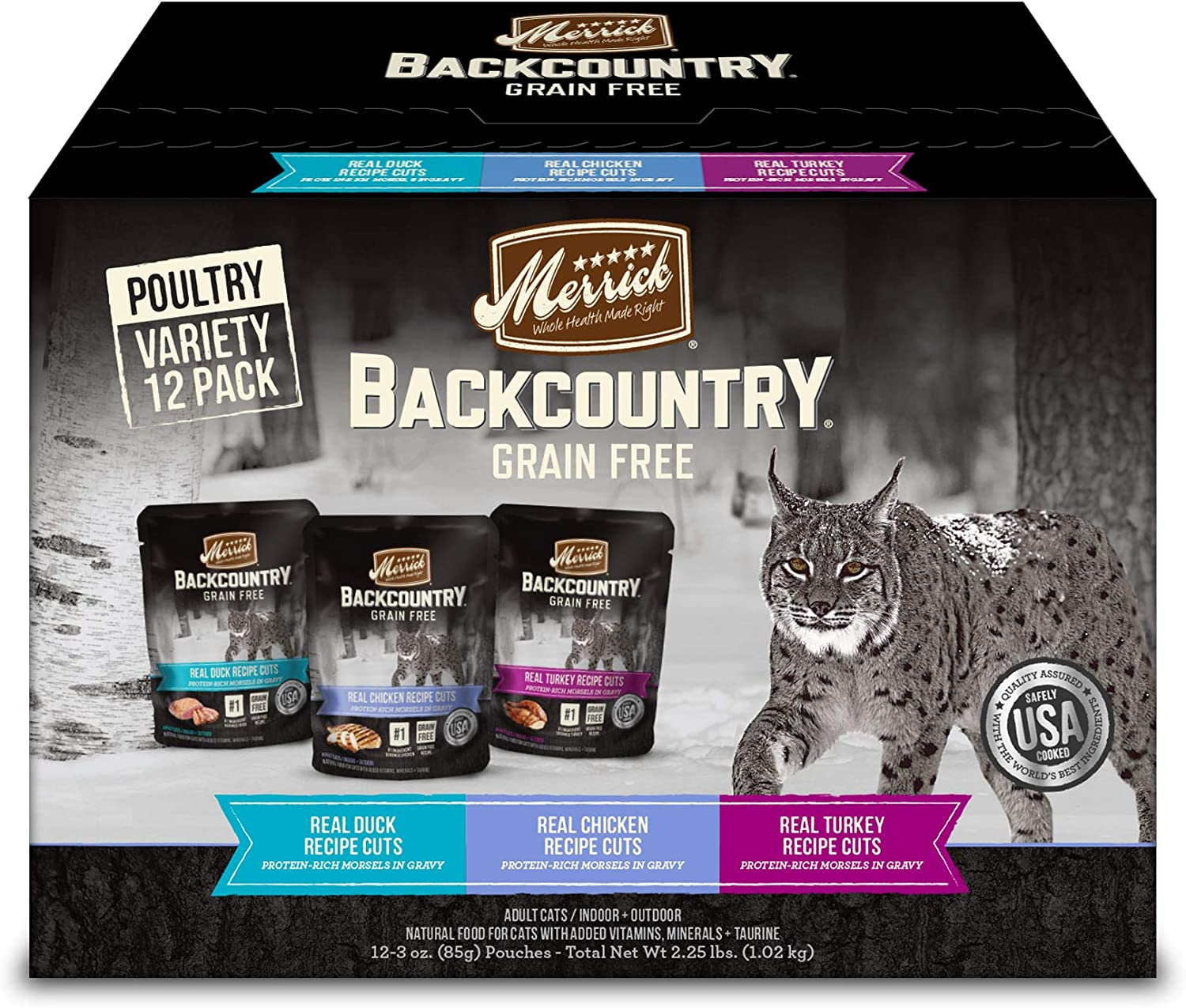 Merrick Backcountry Grain Free Real Meat Wet Cat Food Variety Pack 3 oz. Pouches (Case of 12)