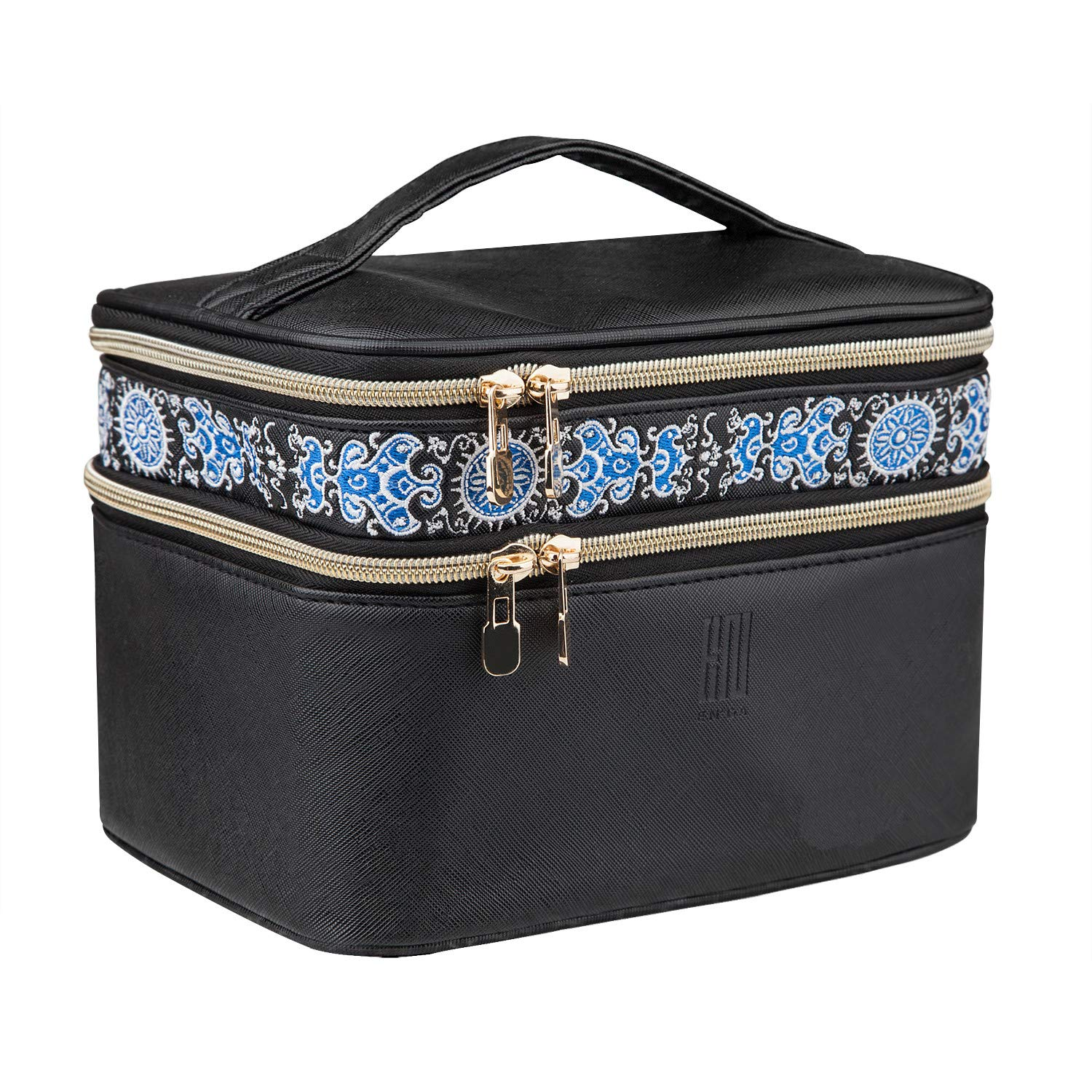 Makeup Case EN'DA Double Layer Make up Travel Cosmetic Bags with Elegant Embroidery-Black Medium size