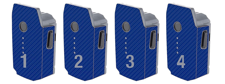 DJI Mavic Pro バッテリースキンラップビニールデカール保護キット(カーボンファイバー)(プレミアム品質)(4パック) DJI Mavic Pro Battery Skin B07JD811RN  ブルー