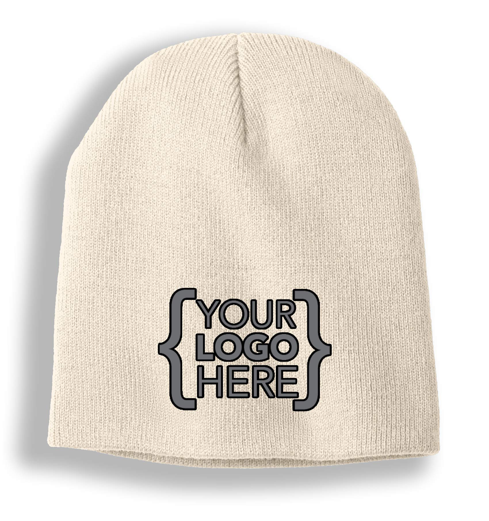 Custom Promotional Mens Womens Knit Beanie Skull Cap with Your Own Embroidered Logo (12 Caps/Stone)