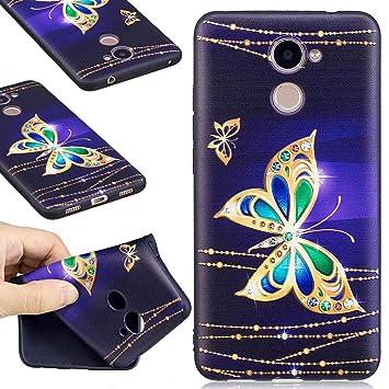 Guran® Carcasa Silicona TPU Protectora Funda Case para Huawei Y7 / Y7 Prime Smartphone Bumper Shock Cover Caso - Mariposa Dorada
