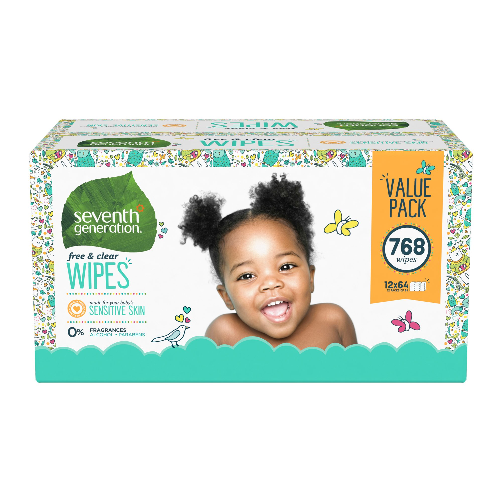 Seventh Generation Free & Clear Baby Wipes, Thick & Strong with Flip Top Dispenser, 768 Count