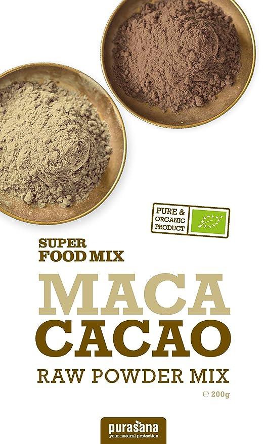 pura Sana - Maca Cacao y Lucuma bio superalimentos mezcla 200 g: Amazon.es: Salud y cuidado personal