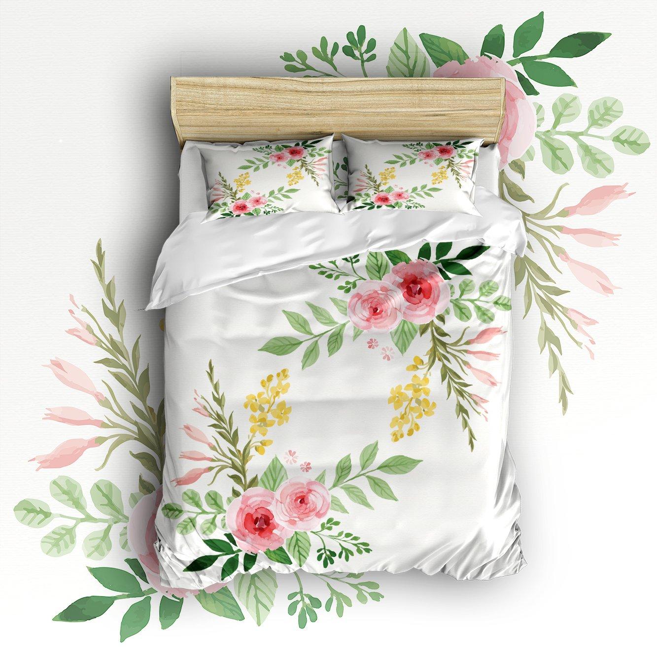 Beauty Decor Bedding 4 Piece bed Set Duvet Cover,flowers 4 Piece Bed Sheet Set 1 Flat Sheet 1 Fitted Sheet and 7 Pillow Cases