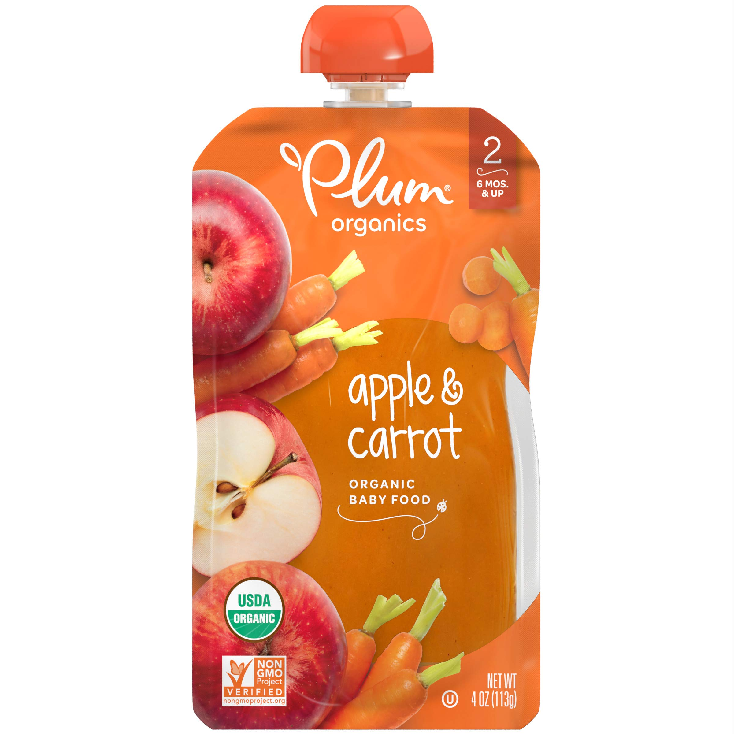 Plum Organics Stage 2, Organic Baby Food, Apple and Carrot, 4 Ounce