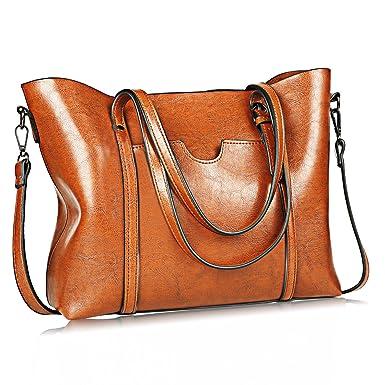 db89001e426b JUNDUN Women Bag Casual Vintage Shoulder Bag Handbags Cross Body Bag Large  Capacity Bags Brown