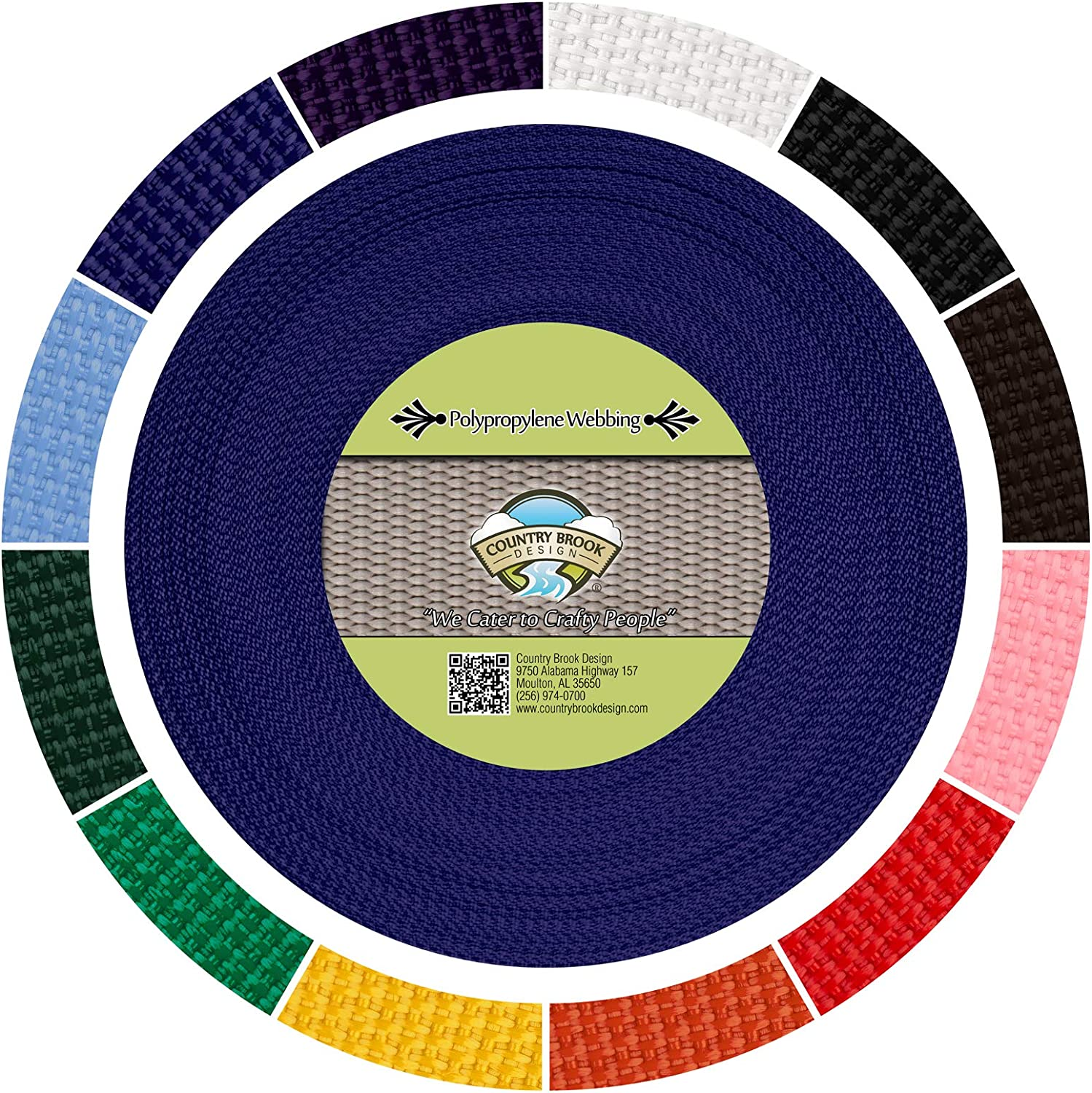Country Brook Design® 1//2 Inch Yellow Polypro Webbing 50 Yards