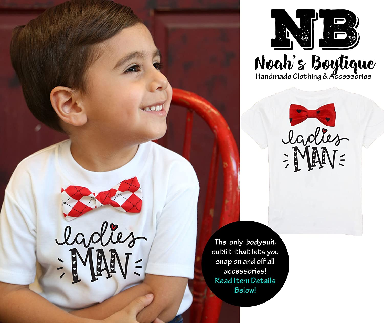 0a6ecb3352a7 Amazon.com: Noah's Boytique Baby Toddler Boy Valentines Day Outfit Ladies  Man with Bow Tie: Clothing