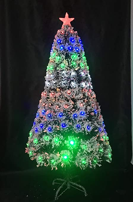 2c6e63923d0d0 UK SALES STORE LED Fibre Optic Christmas Tree Green Snow White Leaves With  Multi Colour Changing LED Light 6Ft 180CM  Amazon.co.uk  Kitchen   Home