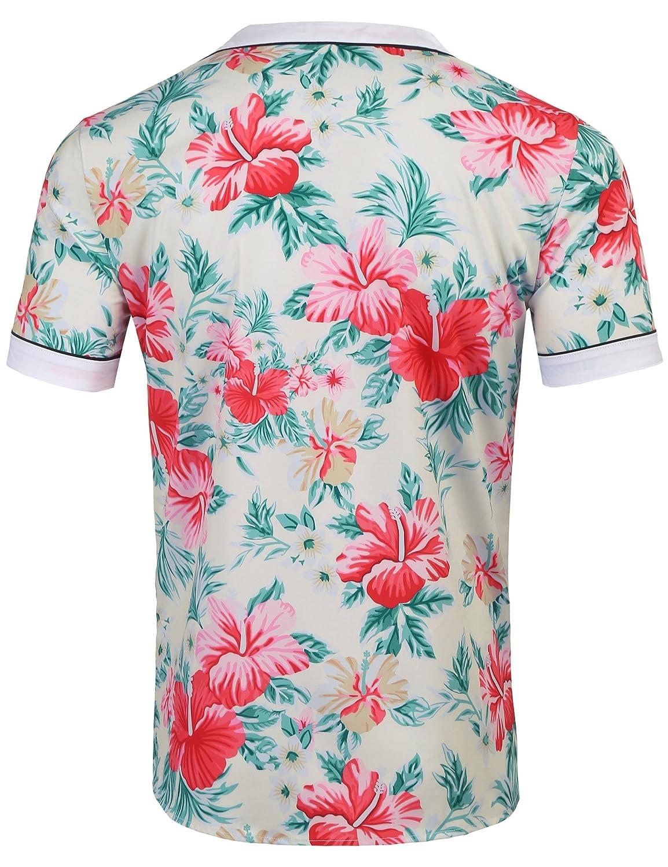 JINIDU Mens Casual Floral Shirt Print Hip Hop Button Down Baseball Jersey Shirts