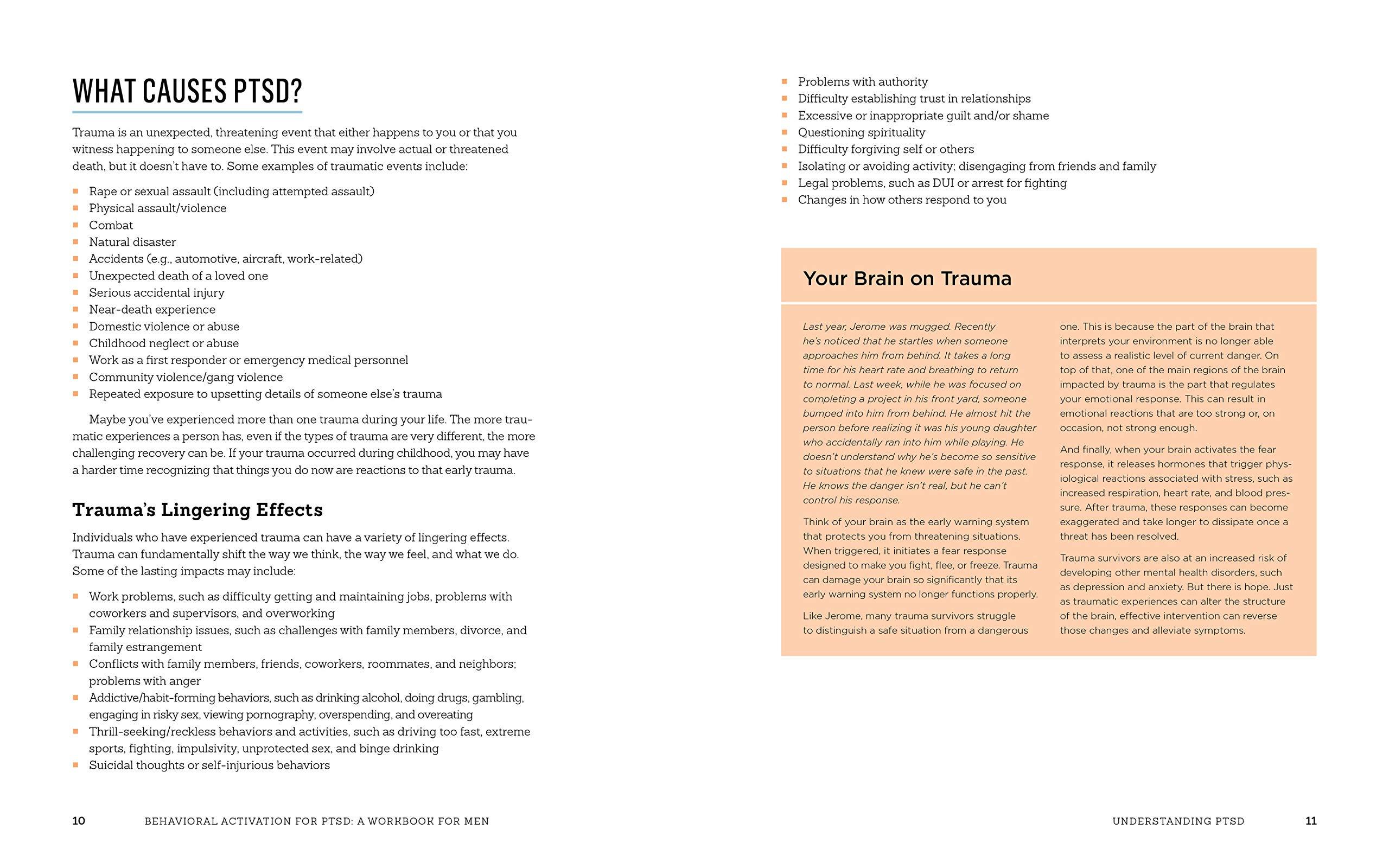 Behavioral Activation for PTSD: A Workbook for Men: Reduce