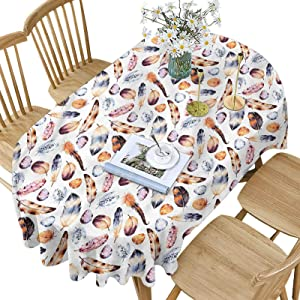 Hiiiman Feather Polyester Oval Tablecloth,Romantic Tribal Design Pattern Printed Washable Table Cloth Cover for Oval Table,60x120 Inch Oval,for Parties Weddings Spring Summer