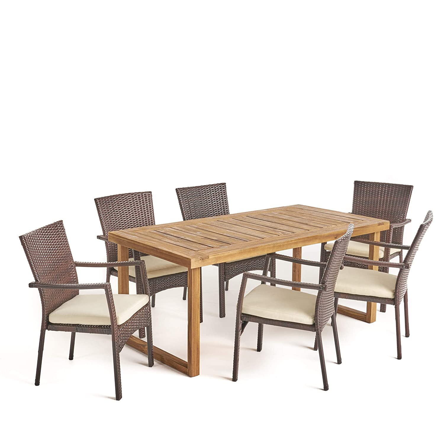 Amazon com great deal furniture humphrey outdoor 6 seater acacia wood dining set with wicker chairs sandblast natural finish and multi brown and beige