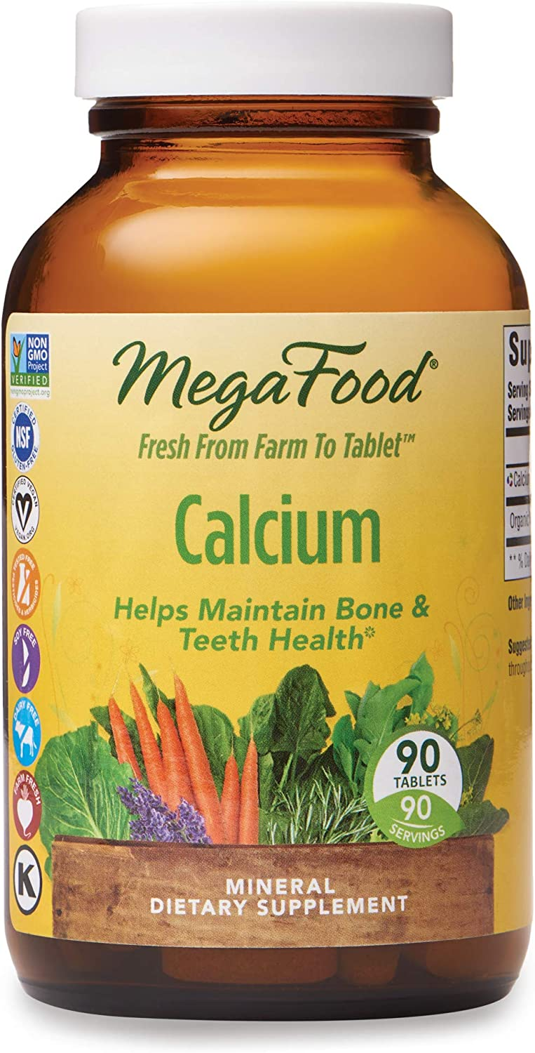 MegaFood, Calcium, Supports Healthy Bones and Teeth, Mineral Supplement, Gluten Free, Vegan, 90 Tablets (90 Servings)