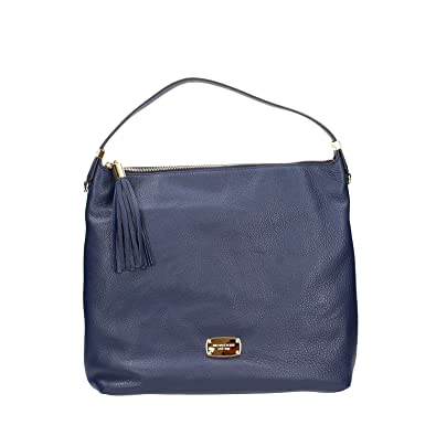 4975301ad6 Image Unavailable. Image not available for. Color  Michael Kors Bedford LG Navy  Leather Top Zip Shoulder Bag