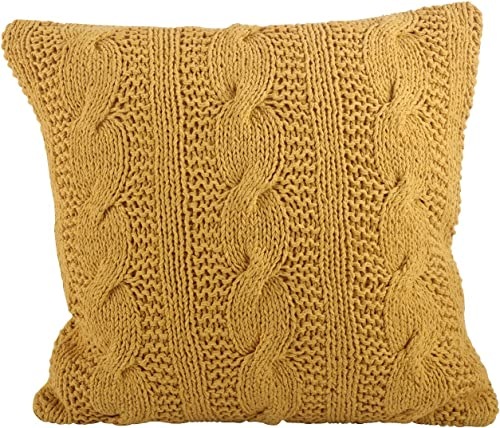 SARO LIFESTYLE 1020 McKenna Collection Saffron Cable Knit Design Down Filled Cotton Throw Pillow, 20