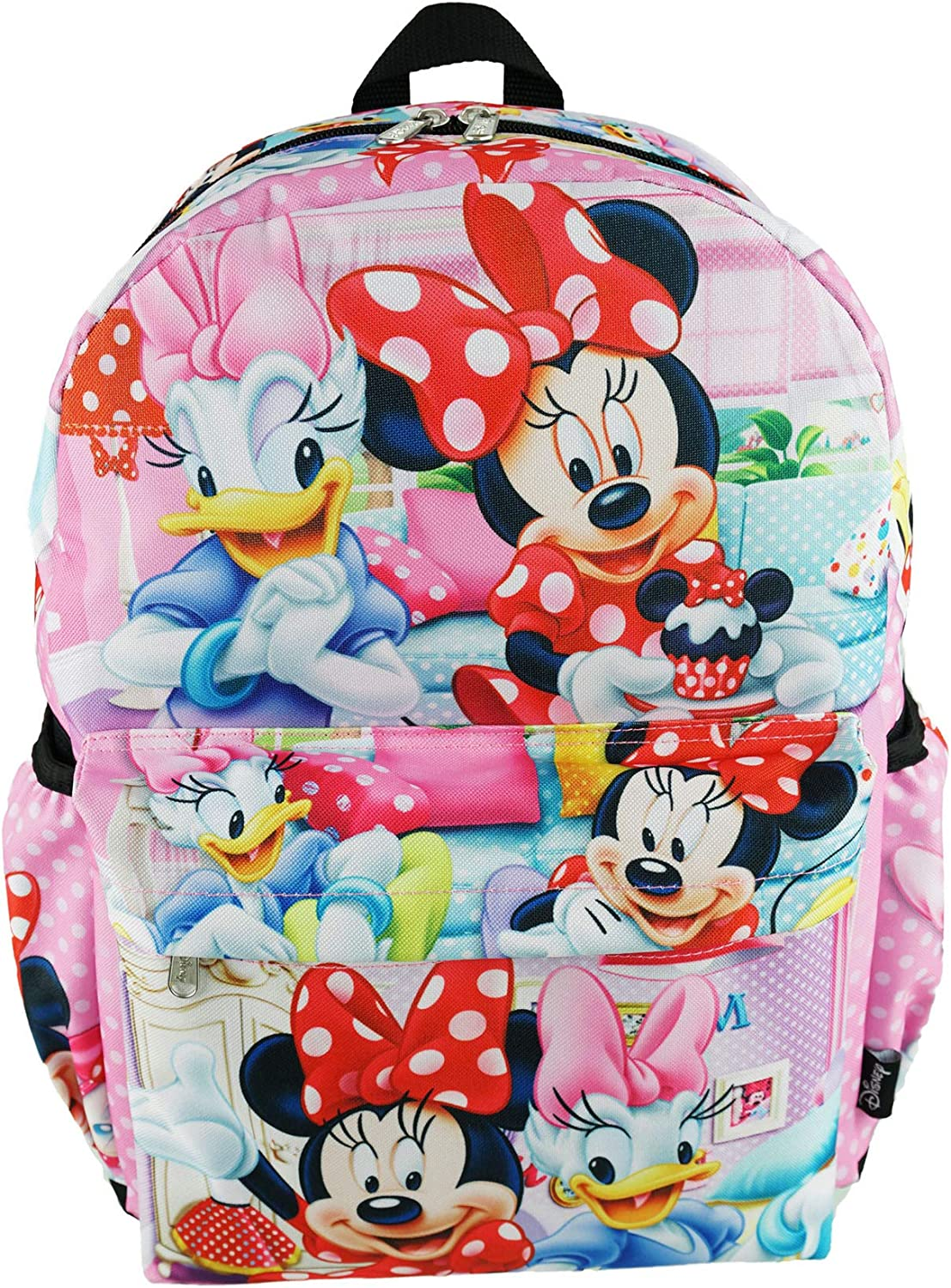 "Minnie Mouse Deluxe Oversize Print Large 16"" Backpack with Laptop Compartment - A19750"
