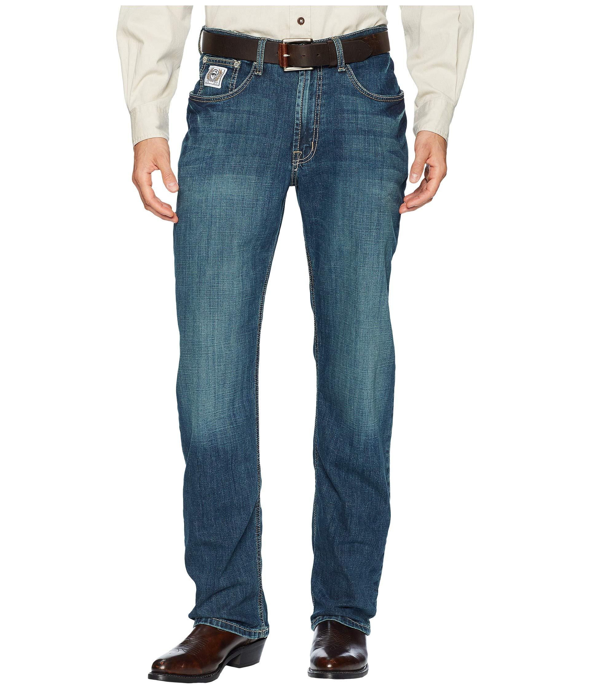Cinch Men's White Label Relaxed Fit Jean, Medium Stonewash Performance Blue, 26x36