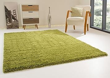 Shaggy hochflor teppich happy xl langflor teppich in grün mit Öko