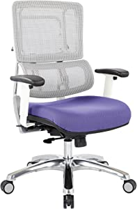 Office Star Breathable White Vertical Mesh Back and Padded Steel Mesh Seat Managers Chair with Adjustable Arms and Polished Aluminum Accents, Purple Seat