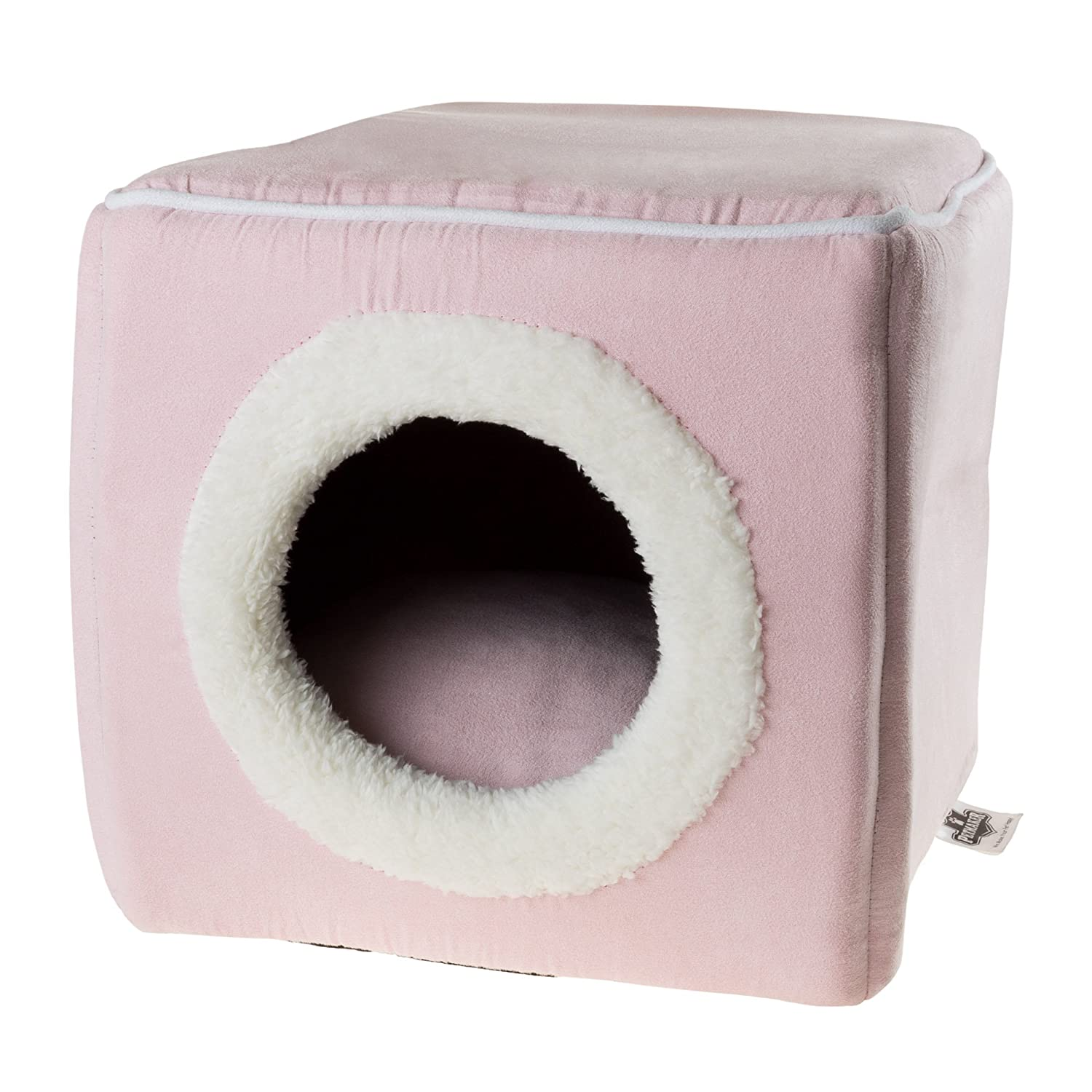 PETMAKER Cat Pet Bed, Cave-Soft Indoor Enclosed Covered Cavern/House for Cats, Kittens, and Small Pets with Removable Cushion Pad (Pink) 80-PET6019