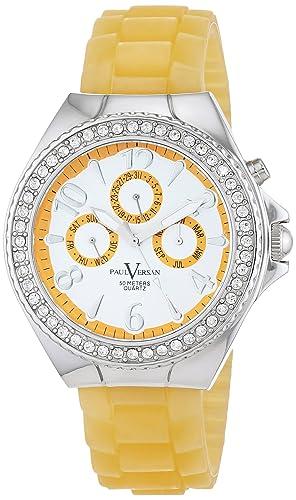 Paul Versan Reloj Análogo clásico para Mujer de Cuarzo con Correa en Caucho PV4042: Amazon.es: Relojes