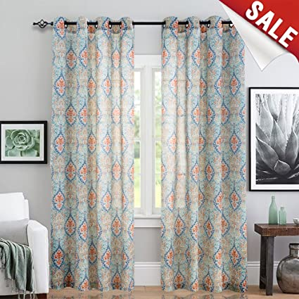 Charmant Jinchan Medallion Linen Blend Curtains For Living Room 84 Inch Length Drapes  Damask Pattern Flax Draperies